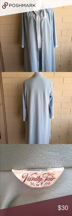 Vintage Vanity Fair Robe and Night Gown Set! Baby blue Nightie and soft snap button Vanity Fair House Coat. Both are size M and in excellent condition free of any stains flaws or defects. Nightie is Henson Kickernick and has satin ribbon along neckline and base. Housecoat has two pockets. Lovely light blue set. Vanity Fair Intimates & Sleepwear Robes