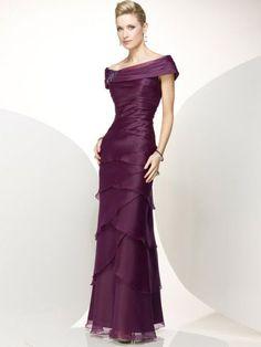 Beautiful! Sheath/Column Off the Shoulder Sleeveless Layers Ankle-length Chiffon Dresses