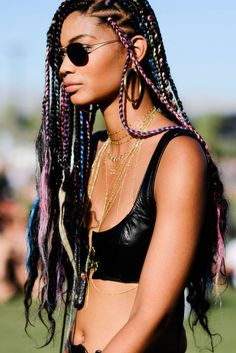 Chanel Iman rocked XXL rainbow braids while living it up at Coachella weekend 1.
