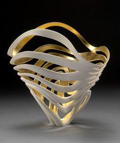 Jen McCurdy wheel-thrown porcelain: Wave Vessel