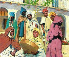 Algérie - Peintre Français,  Paul NICOLAÏ ,(1876-1948), Huile sur toile 1925, Titre : Les mendiants