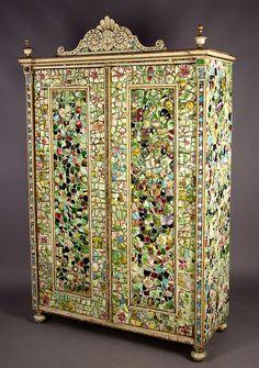 fantastic antique mosaic tiles armoire