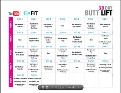 30 Day Butt Lift Calendar