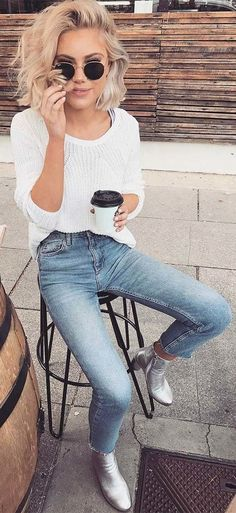 white knit sweater outfit jeans   summer outfits White Knit + Bleached Skinny Jeans + Metallic Booties             #streetstyle #streetwear #streetfashion #fashionstyle #stylish #style #closet #closetgoals   #stylish #stylisttip #clothes   #casualstyle #casualoutfits #french #bestdressed #womensfashion