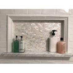 Matrix-Z SeaTile x Natural Shell Peel & Stick Subway Tile Peel And Stick Tile, Stick On Tiles, Joss And Main, Shower Niche, Bathroom Shower Tiles, Mosaic Shower Tile, Tiled Showers, Tile Walk In Shower, Huge Shower