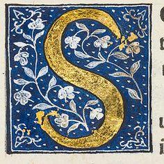 """Decorated initial """"S"""" in Scriptores historiae Augustae."""