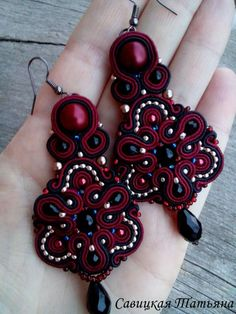 Marsala Beautifult Earrings - Long Statement Soutache Earrings - Hand Embroidered Soutache Jewelry - Handmade Earrings with Crystals Bead Embroidery Jewelry, Beaded Embroidery, Wire Earrings, Earrings Handmade, Soutache Necklace, Crochet Patterns For Beginners, Handmade Accessories, Bead Art, Boho Jewelry