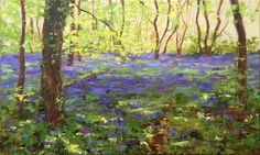 This is painting is of a wood near Lacock. I love this time of a year when bluebells cover the ground like a fluffy blue carpet, the leaves on the trees are Blue Carpet, My Arts, Colours, Palette Knife, Texture, Landscape, Stretched Canvas, Wood, Brushes