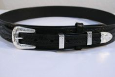 New BLACK Ranger Belt by BWP EMBOSSED WEAVE Leather SMOOTH Edges Casual Western