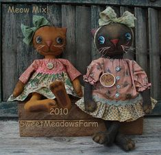 Primitive Cat Doll Pattern Meow Mix - pinned by pin4etsy.com