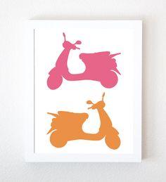 Vespa Graphic Art Print in Peony & Peach par ThirdFloorDesign, $15,00