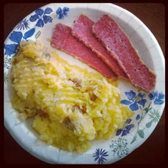Corned beef and mashed potatoes.