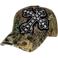 $8.00 Distressed Mossy Oak® Crystal Black Cross Baseball Cap