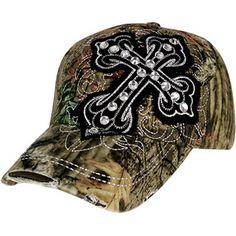 8.00 Distressed Mossy Oak® Crystal Black Cross Baseball Cap Country Girl  Style ca8a571ae9b6