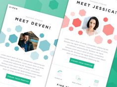 "Here's the second email template that I created for Hired. Much like the ""Welcome"" email, I wanted success stories to have a similar vibe by making use of the polygon pattern. Most important part a..."