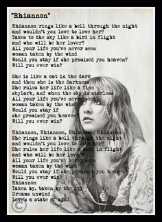 Custom Stevie Nicks Fleetwood Mac Rhiannon Lyrics Minimalist Art Print by vintagemystic on Etsy https://www.etsy.com/listing/234830834/custom-stevie-nicks-fleetwood-mac