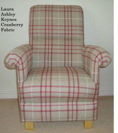 Laura Ashley Keynes Cranberry Fabric Chair Armchair Nursery Check Grey Red New Laura Ashley Fabric, Chair Fabric, Beige, Grey, Modern Bedroom, Modern Furniture, Armchair, Lounge, Nursery