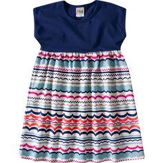 Vestido Infantil Feminino Estampado Marinho - Brandili :: 764 Kids | Roupa bebê e infantil