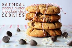 Mostly Homemade Mom: Oatmeal Peanut Butter Chocolate Chip Cookies