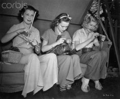 "Young Lucille Ball and Friends Knitting Together.  Original caption:  Patricia Wilder, Anne Shirley, and Lucille Ball, (left to right), are the three young ladies studiously applying themselves to their ""knit one purl one"" between scenes on the RKO Radio lot in Hollywood."
