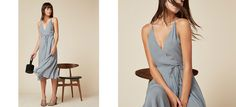 Fine, I'll go to the party. This is a wrap dress with a low neck and pleated…