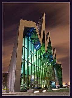 Photograph Night at the museum by davidmccrone Transport Museum in Glasgow designed by Zaha Hadid. 500px