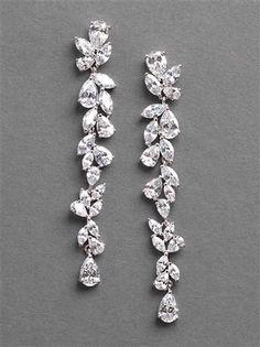 Bridal Vine Earrings, Long Bridal Earrings, Wedding Earrings - Women's style: Patterns of sustainability Prom Earrings, Silver Drop Earrings, Bridal Earrings, Wedding Jewelry, Stud Earrings, Long Diamond Earrings, Wedding Earrings Drop, Rhinestone Wedding, Vintage Wedding Earrings