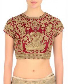 Golden goddess Lakshmi maroon blouse. | PATAKA GUDDI