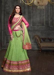 Kantaloon Pink & Green Embroidery Designer Lehenga|Lehenga Choli|Ethnic Wear