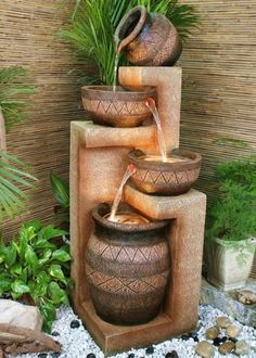 o, I decided to surprise you with yet another super collection of 20 Stunning Garden Water Fountains That Will Blow Your Mind. Here you may find water fountains for everybody's taste. Dream Garden, Garden Art, Garden Deco, Garden Pond, Garden Trees, Garden Water Fountains, Indoor Fountain, Water Gardens, Patio Fountain