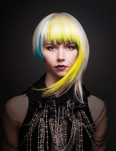 Meet the 2014 NAHA Finalist: Loretta Tom Add a pop of color to your style with fusion hair extensions. Contact your stylist today! Funky Hairstyles, Pretty Hairstyles, Wedding Hairstyles, Creative Haircuts, Color Fantasia, Vivid Hair Color, Fusion Hair, Foto Fashion, Yellow Hair