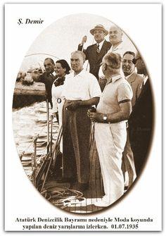 Atatürk Denizcilik Bayramı nedeniyle Moda koyunda yapılan deniz yarışlarını izlerken.  01.07.1935 Great Leaders, Inspirational Quotes, Joy, History, Life Coach Quotes, Historia, Inspiring Quotes, Glee, Being Happy