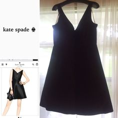 kate spade ♠️| Zip Up Dress NWT Color: Black Full-length zipper on the front of dress. 100% polyester. V-Neck. Fully lined. Dry clean only. A-line cocktail dress. Sleeveless. Comes in original packaging. Tried on once by me. Fits true to size. TradesPayPalHoldsModelingPetsSmoke *I do my best to describe each product. There may be a slight color variation in person from what you see on the computer. Always ask any questions before purchasing  kate spade Dresses
