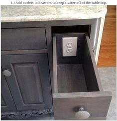 cool place for power outlet on kitchen island - Kitchen Island Outlet Ideas