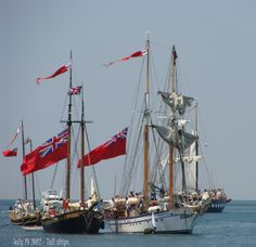 Tall Ships in the Niagara River - celebrating bicentennial of the war of 1812 Coast Guard Ships, Masonic Order, Old Sailing Ships, Holiday Rentals, War Of 1812, Lake Erie, Tall Ships, Great Lakes, Niagara Falls
