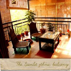 This balcony is so inviting!! Love the traditional pieces of furniture that…