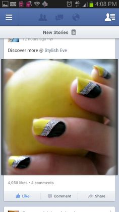 Great prom nails with black silver and pink