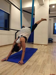 Wheelbarrow in aerial yoga