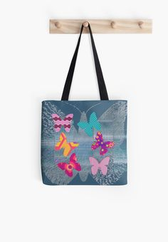 #ColorfulButterflies #InSilhouette #ToteBag by #MoonDreamsMusic