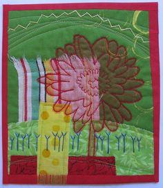 "Art Quilt ""Dancing Dishcloth Daisy"". $60.00, via Etsy."