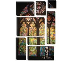 Banksy Stained Glass Window Graffiti Print on Canvas - iCanvasART.com