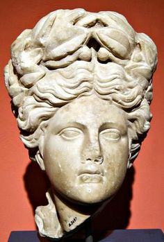 "Head of Apollon, known as ""Tete d'Apollon"" - from ancinet city Pergemon, Anatolia, Hellenistic period - at the Antalya Museum, Turkey"