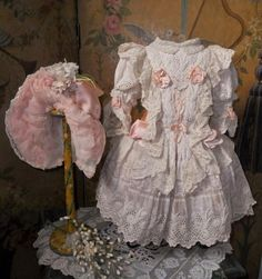 Most hand sewn one of a kind French Bebe Dress with gorgeous matching bonnet which would fit  for French or German Doll around 24 / 25 ( 62 - 64 cm )
