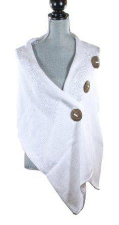 Pure Handknit Ethical White Original Button Wrap Sweater Pure Handknit. $54.99