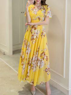 Summer V-Neck Floral Printed Chiffon Maxi Dress - fashionMia.com