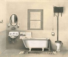 Victorian bathroom, no date given. Note wall-hung cast iron sink and candle-style gas light.