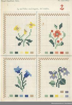 Trykt mønsterark i til brodert tekstil. Cross Stitch Rose, Cross Stitch Borders, Stitch 2, Cross Stitch Flowers, Cross Stitch Designs, Cross Stitch Embroidery, Cross Stitch Patterns, Yarn Crafts, Diy And Crafts