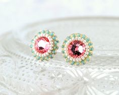 Pink peach mint green ivory stud earrings  by exquisiteartistry, $39.00