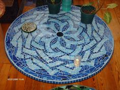 Blue Celtic Knot Mosaic Table