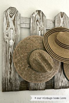 our vintage home love - cute way to hang hats